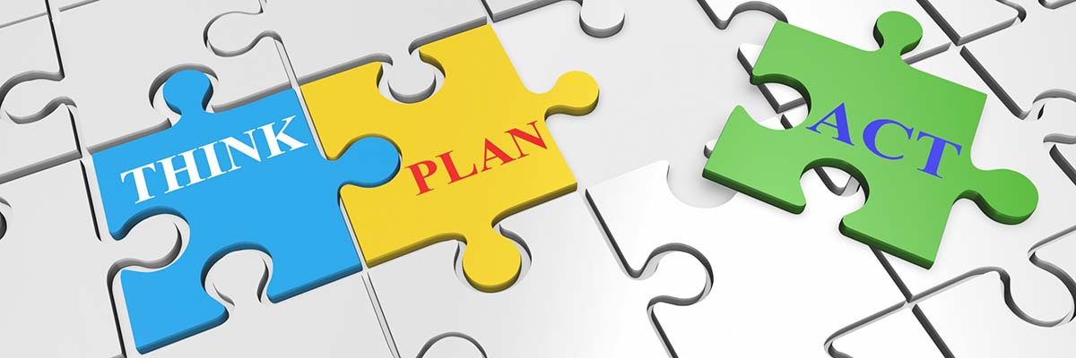 puzzle pieces with the words think plan act