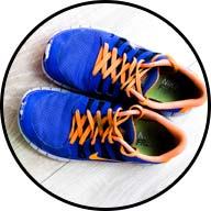 colorful tennis shoes set out