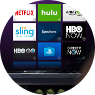 smart TV with 9 apps displayed on the screen next to a menu
